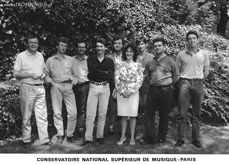 1990 ( Paris) : Gilles MILLIERE (professeur) / Eric DAVERGNE / Sebastien JADOT / Philippe STEFANI / Bernard METZ / Sylvie BARRET (pianiste) / Patrice VIGNOUD / Rudy SAUVAGE / Didier COMTE