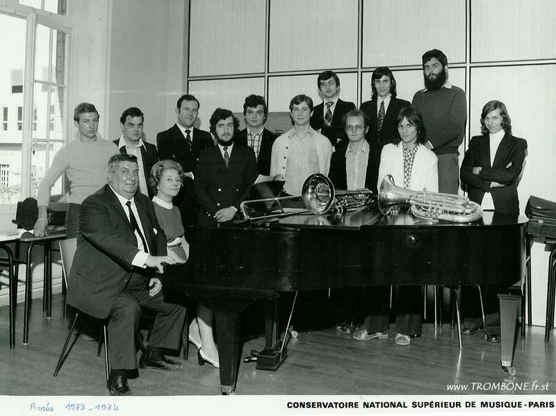 1974 : Christian JOUS / Roger MOREL (trombone basse) / Jacques DESRUENNE / Bruno ZAMBON (trombone basse) / Robert COUTET / Yves LAIR / Jean-Paul CLAVEL / Jean-louis NEGRO (trombone basse) / Régis CARROUGE (trombone basse) / Paul BERNARD (professeur) / Mme FOURNIER (accompagnatrice)