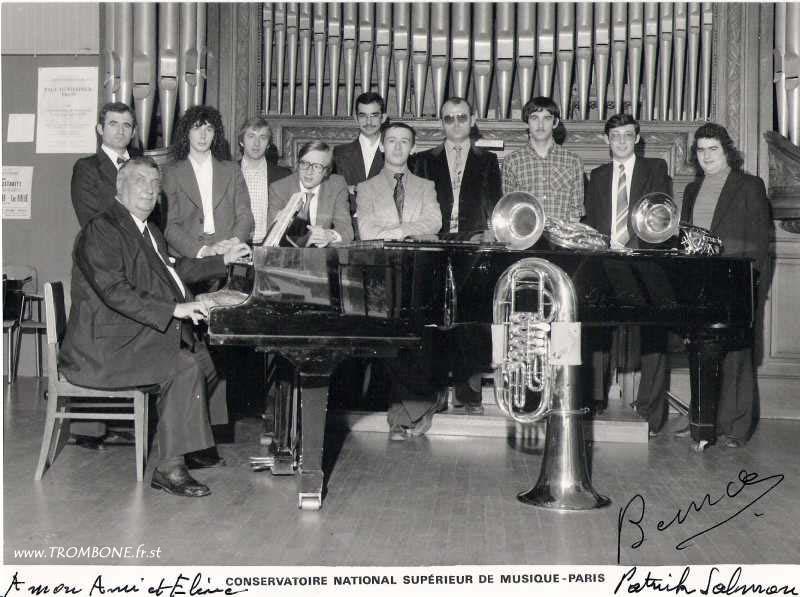 1979 : Gilbert GONZALES (trombone basse) / Patrick TREOLE / Bernard FEDY (trombone basse) / Patrick SALMON / Frédéric POTIER (trombone basse) / Dominique BERJON / Jean MANNIER / Alain SALMON / Philippe LEGRIS / Jean-Yves SIMON / Paul BERNARD (professeur)
